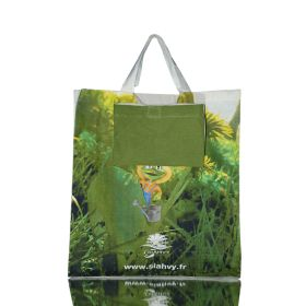 "Folding cotton shopper with gusset and short handles 14.96""(w) x 16.93""(h) inches"