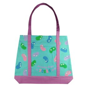 """Canvas Tote bag with coloured handle 16.14"""" TOP(w) x 19.29"""" BOTTOM(w) x 14.57(h) inches"""