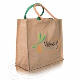 "Big jute shopper with webbed rope handles 16.14""(w) x 15.35""(h) x 7.87""(d) inches"