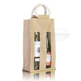 "Two Bottle Jute Window Bag 7.87""(w) x 13.39""(h) + 3.94"" inches"