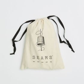 natural cotton branded drawstring bag with black cord for wholesale direct from manufacturer
