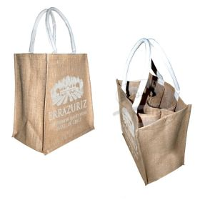 "Six Bottle Jute Bag & Web Handle 11.81""(w) x 13.39""(h) + 7.87""inches"