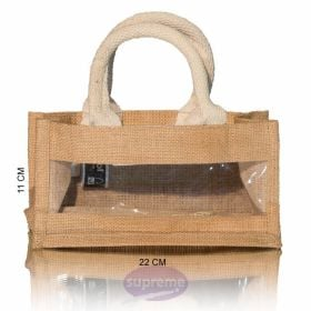 "Small Jute Window Bag 8.66""(w) x 4.33""(h) inches"