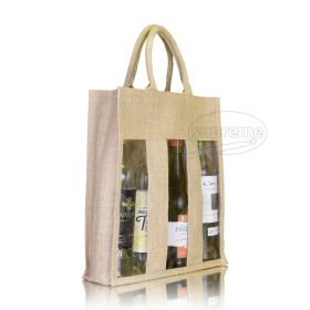 "Three Bottle Jute Window Bag 11.81""(w) x 13.39""(h) + 3.94"" inches"