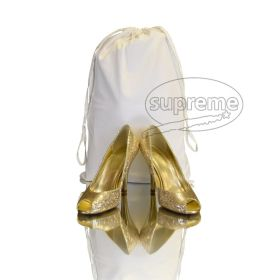 white cotton drawstring bags with special handle - satbds75