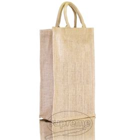 """Two Bottle Jute Bag 7.87""""(w) x 13.39""""(h) + 3.94"""" inches"""