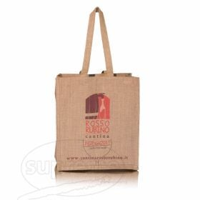 "Six Bottle Jute Bag 11.81""(w) x 13.39""(h) + 7.87"" inches side gusset"